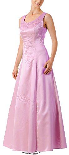 Brautmutterkleid breite festlich Brautjungfernkleid Abendkleid Satin Ballkleid große Größen Rosa lang bodenlang A Linie XXL Träger 0wE0d1