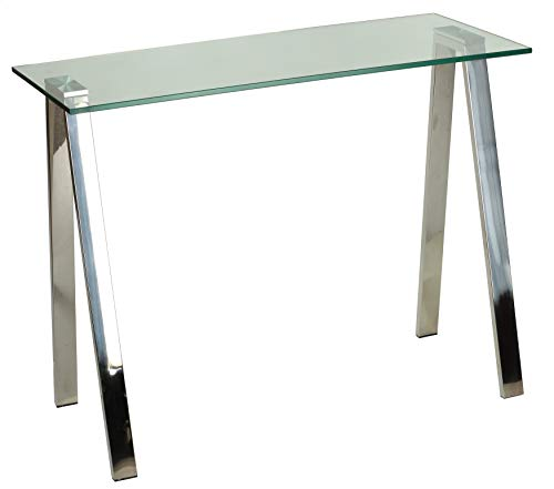 Cortesi Home Trixie Glass Top Desk Console Table with Stainless Steel Frame