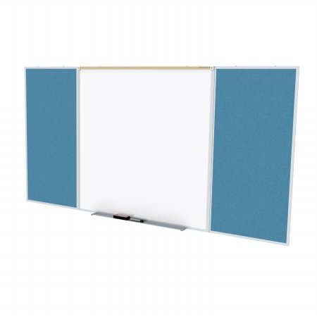 Ghent SPC416D-V-191 4 ft. x 16 ft. Style D Combination Unit - Porcelain Magnetic Whiteboard and Vinyl Fabric Tackboard - Ocean