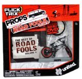 Flick Trix Spinmaster Fingerbike Real Bikes, Unreal Tricks BMX Bicycle Miniature Set - Black Color UNITED Bike with Display Base and DVD Props The Best of Road Fools Volume 4