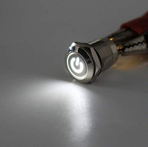 Stecker Modellbau/® VUNIVERSUM Premium Einbau Druckschalter 12V 12mm Silber Wasserfest Momentary Push Button Switch 4Pin mit Power Symbol LED Blau von Mr