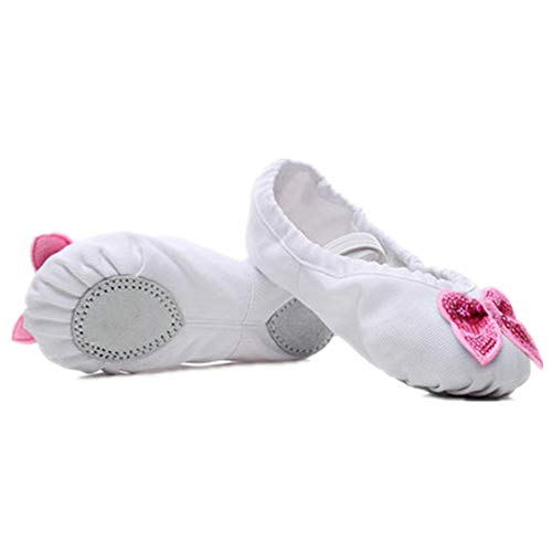 Girls Lamour Ballet White Shoes (A-LING Girl's Ballet Dance Shoes Ballet Slippers Flats Gymnastics Shoes (White-EU 23/6 M US Toddler))