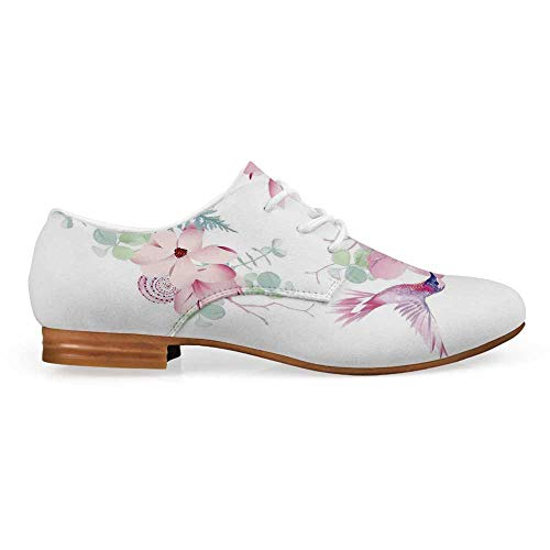 Hummingbirds Decor Comfortable Leather Shoes for Women,Tropical Flowers with Flying Hummingbirds Wild Nature Bare Branches Blooms for Women Girls,US 6
