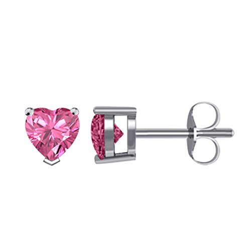 14K White Gold Plated CZ Stud Earrings Clear Pink Sapphire CZ Stud Ear Stud 4mm To 8mm by Star Retail