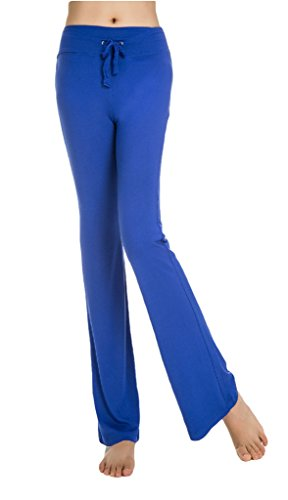 Cloudy Women's Modal Wide Leg Yoga Pants Linear Self Tie Waist, Multiple Colors Available(Dark Blue,US L/Asian XXL)