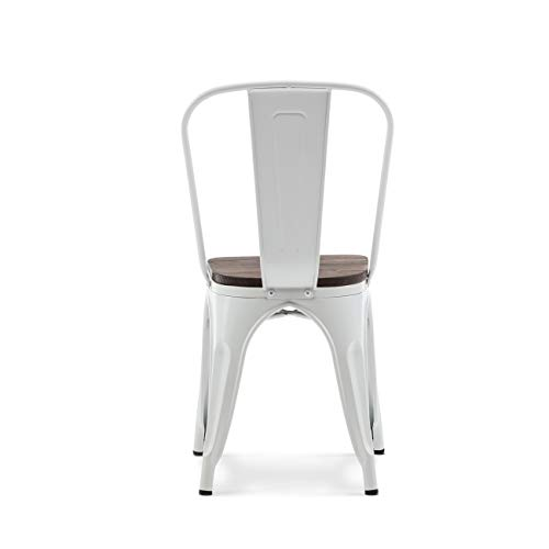 Belleze 014-HG-14085WD-WH Dining Side Chairs Steel High Back, White by Belleze (Image #3)