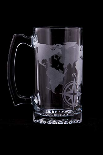 World Map Etched Glass Beer Stein - 20oz ()