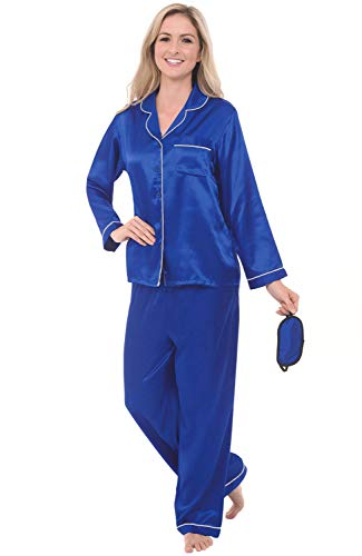 (Alexander Del Rossa Women's Pajama & Mask Set – Satin Button-Down PJs, Long Pants & Sleeves, XS Horizon with Light Grey Piping (A0750HZPXS))