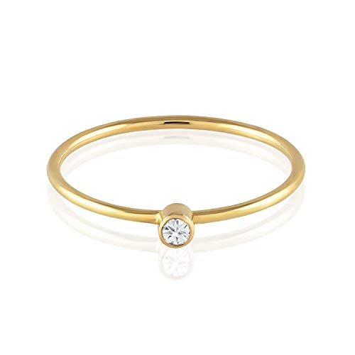 TousiAttar Diamond Ring - Solitaire Stackable Thin Rings for Women - Round Cut Genuine Diamonds on Tiny 14k or 18k Real Gold Band - Small Promise Jewelry - Size 4 to 10 ()