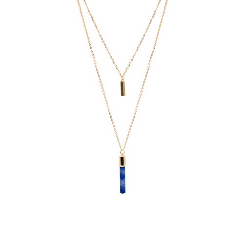 T-Doreen Layered Dark Blue Rock Natural Stone Pendant Necklace for Women Golden - Dark Blue Pendant Necklace