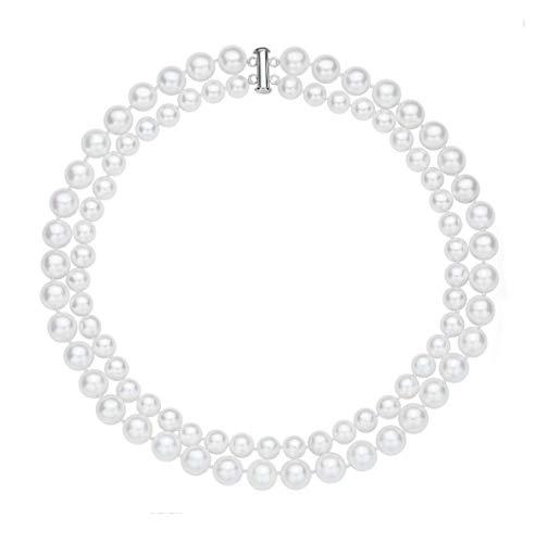 """Rakumi Double-Row 8-10mm White Seashell Pearl Necklace 18"""""""