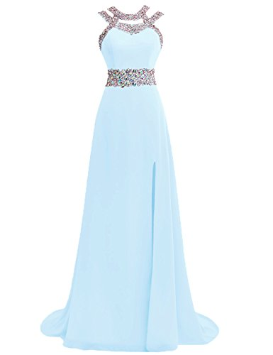Prom Dress Halter Evening Gowns Formal Long Slit Chiffon Bridesmaid Dresses A line Open Back Ice Blue US10
