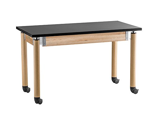 Adjustable Height Science Lab Table with Casters Size: 29'' H x 60'' W x 30'' D, Leg Color: Oak by National Public Seating