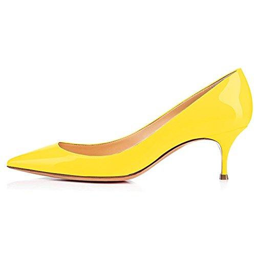 (Kmeioo Pumps for Women, Women's Slip On Kitten Heels Pointed Toe Low Heels Office)