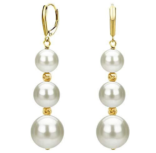 (Graduated Freshwater Cultured White Pearl and Sparkling Beads Lever-back Earrings in 14k Yellow)