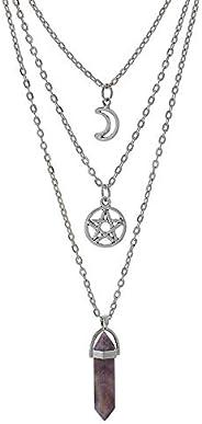 MJartoria Moon Pentagram Necklace Pentacle Chakra Charm Pendant 3 Multi Layer Alloy Chain Choker Necklace Set