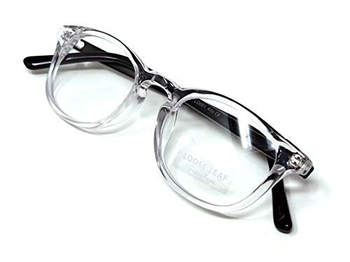 - LOOSE LEAF Albi Clear Frame with Black Temple Prescription Ready Frame Optical Eyeglasses in Clear Lens for Men and Women