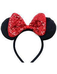 MeeTHan Mickey Mouse Minnie Mouse Sequin Ears Red Headbands: M8 (Minnie Standard Costumes)