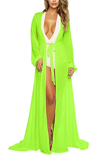 Pink Queen Women's Long Sleeve Flowy Maxi Bathing Suit Swimsuit Tie Front Robe Cover Up Light Green M