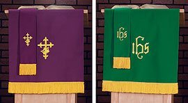 (Pulpit Scarf W/IHS: Prp/Grn)
