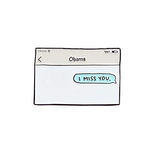 I Miss You Obama Lapel Hat Pin Tie Tack Enamel Lapel Pin Brooch
