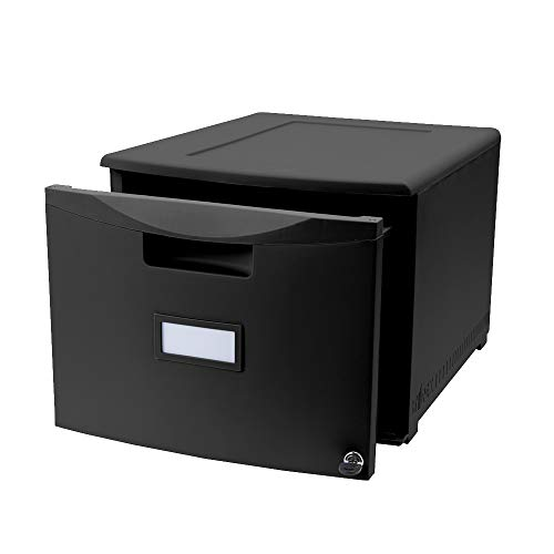 Lockable Storage Cubes Modern & Contemporary Style 1-Drawer Mini Locking File Cabinet Stacks Securely to Create a Vertical File Cabinet of Up to 6 Drawers High Furniture Frame Material Plastic