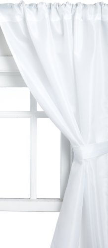 Carnation Home Fashions Polyester Fabric Bathroom Window Curtain, White, 36''x54