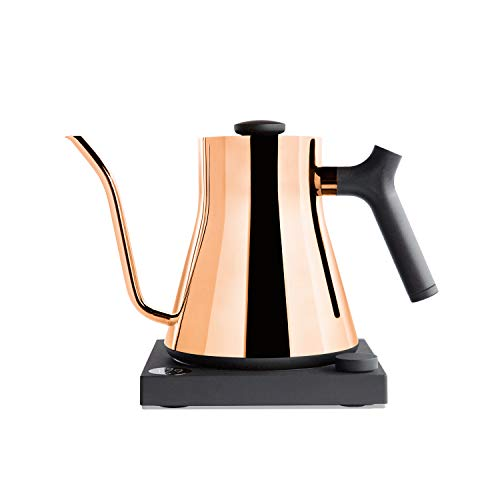 Stagg EKG Electric Pour-Over Kettle For Coffee And Tea, Polished Copper, Variable Temperature Control, 1200 Watt Quick Heating, Built-in Brew Stopwatch