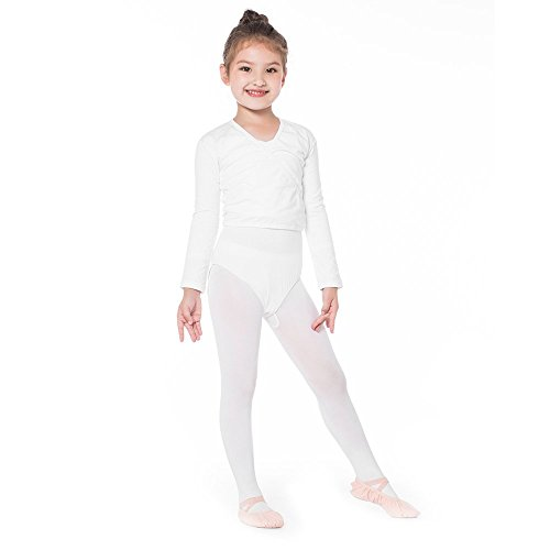 Bezioner Girls' Classics Ballet Wrap Top Long Sleeve White, S