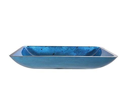 Kraus GVR-204-RE-SN Irruption Blue Rectangular Glass Vessel Bathroom Sink with PU Satin Nickel