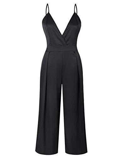 Tie Back Floor - YSJERA Women's Deep V-Neck Tie Back One Piece Jumpsuits Wide Leg Long Palazzo Pants Rompers (L,Black)