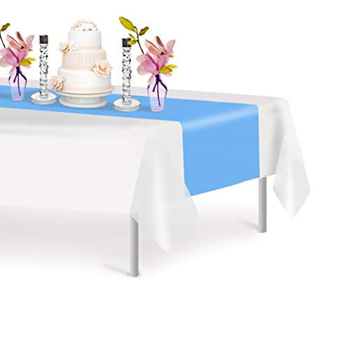 Sky Blue 6 Pack Premium Disposable Plastic Table Runner 14 x 108 Inch. Decorative Table Runner for Dinner Parties & Events, Decor By -