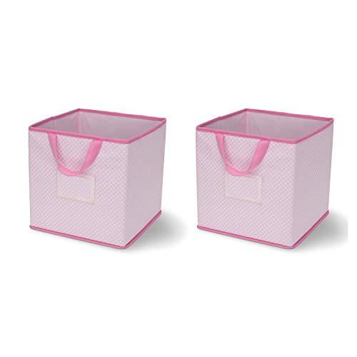 Delta Children 2 Piece Printed Storage Boxes, Barely Pink