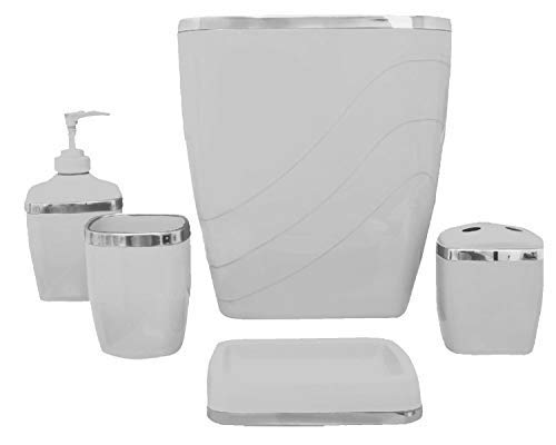 Ben & Jonah 5 Piece Plastic Bath Accessory Set in Grey Which Includes: Wastebasket, Lotion Pump, Tumbler, Toothbrush Holder and Soap Dish Splash Collection ()
