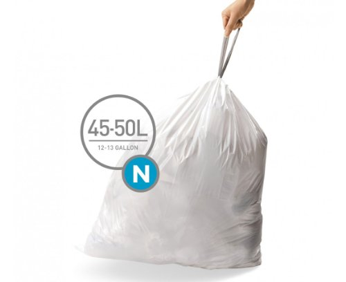 Price comparison product image simplehuman Code N Custom Fit Liners,  Extra Strong Trash Bags,  45-50 Liter / 12-13 Gallon,  3 Refill Packs (60 Count)