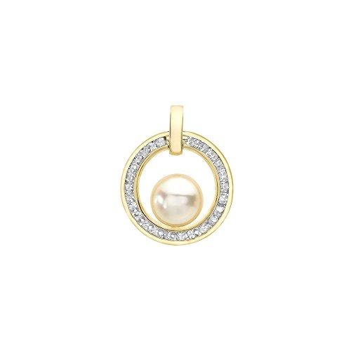 Jouailla - Pendentif or blanc 375/1000e et Oxyde de Zirconium et perle d'eau douce