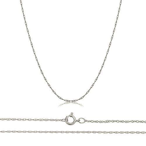 Orostar Solid 10K Yellow, White Gold 0.8mm Thin Rope Chain 16