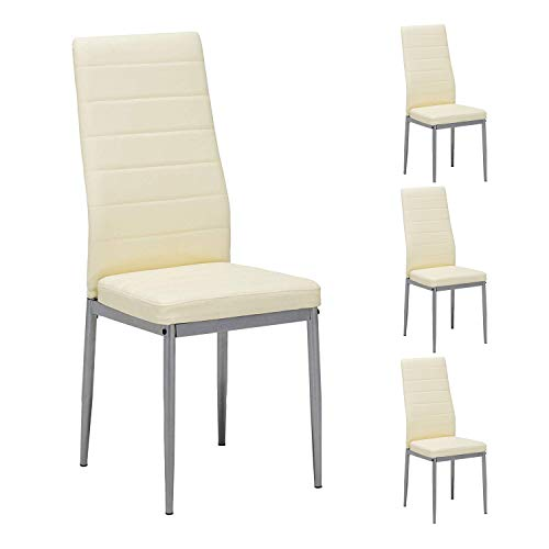 Mecor Dining Chairs Set of 4,Modern Dining Chairs High Back PU Leather with Steel Frame Legs Kitchen Room Chairs Light Yellow