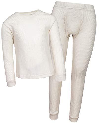 Snozu Boys Thermal Warm Underwear Top and Pant Set (Little Boys), Natural, 2T'