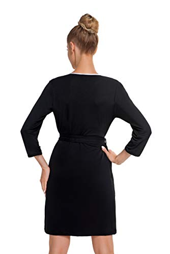 confezione Nero Donna fantastica accappatoio in splendidi elegante Rosa una vestaglia con viscosa dettagli in regalo APO4Awq