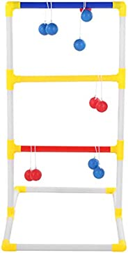 ohcoolstule Portable Ladder Ball Toss Game Set Indoor Outdoor Patio Backyard Lawn Game for Adults and Kid