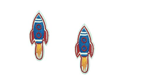 2 Pieces Space Shuttle Iron On Patch Fabric Motif Applique Rocket Launch NASA USA Mission Aeronautical Planet Scrapbooking Decal 2.5 x 1.1 inches (6.5 x 2.75 ()
