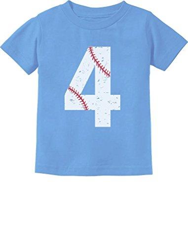 TeeStars - Baseball 4th Birthday Gift for Four Year Old Toddler Kids T-Shirt 5/6 California Blue