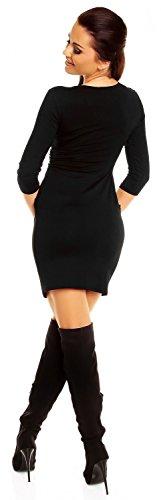 Zeta Ville - mujeres cintura del imperio Vestido tulipán tamaño 8-20 - 236z Negro