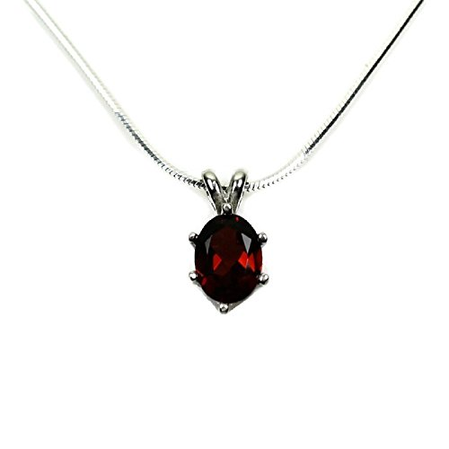 (Oval Red Garnet Necklace 925 Sterling Silver Pendant and 18, 20 or 24 Inch Chain 8X6MM Faceted Gemstone Real Gem January Birthstone)