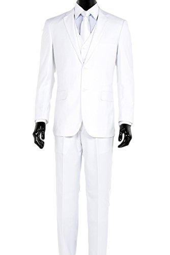King Formal Wear Elegant Men's Modern Fit Three Piece Two Button Suit - Many Colors (48 Regular, White) Two Button Wool Suit