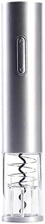 WHBGKJ Sacacorchos abridor de botellas de vino eléctrico Sacacorchos automático de botella de champán, kit de regalo con cortador de papel de aluminio, utensilios de cocina (color: plata)