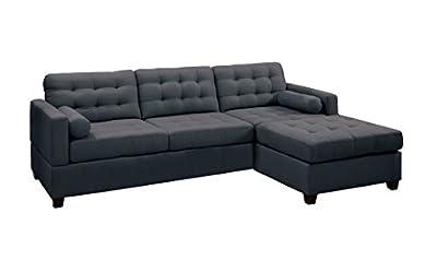 Poundex Bobkona Hardin Polyfabric Left or Right Hand Reversible Sectional Sofa, Slate Black