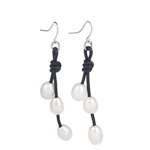 Bonnie S925 Silver Hook Pearl Dangle Drop 2 Strand Leather Handmade Earring (Bonnie Black Leather)