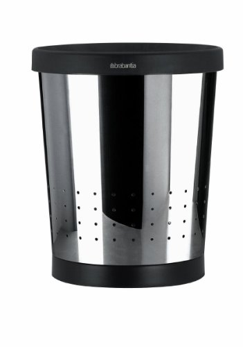 Brabantia Conical Waste Paper Bin with Holes, 11 L - Brilliant Steel by